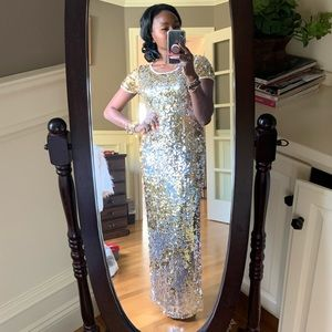 Vtg Floor Length Gold Silver Sequin Gown Size 6